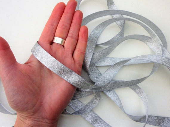 38mm Silver Wedding Decoration Floral Wreath Silver Metallic Lame Ribbon