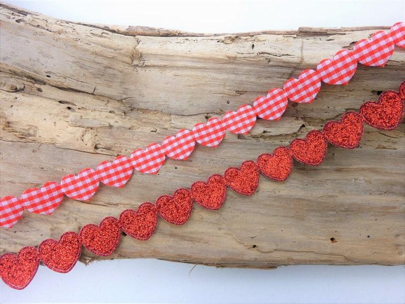 Glitter heart ribbon trim gingham heart embellishments  ef11241d5
