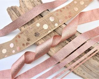Rose gold ribbon trim, lame ribbon, metallic ribbon, hessian burlap trim, sparkly wedding ribbon trim, Berisfords lame