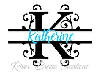 split monogram letter k svg fancy swirl font svg cricut svg designs svg cutting files svg file for silhouette instant download