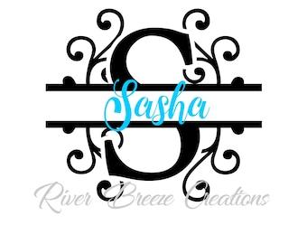 split monogram letter s svg fancy swirl font svg cricut svg designs svg cutting files svg file for silhouette instant download
