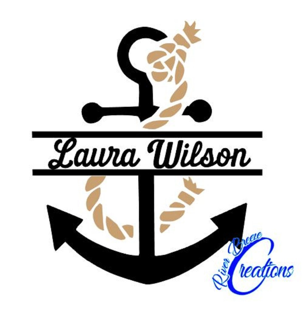 Split Anchor Monogram Svg Silhouette Svg Cricut Svg Navy