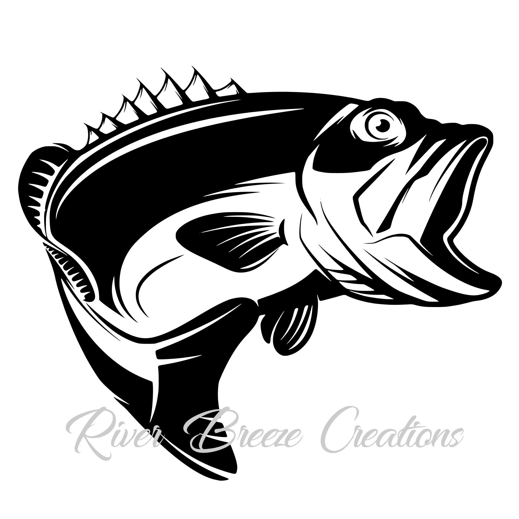 Bass Fish Svg Silhouette Svg Cricut Svg Large Mouth Fish ...