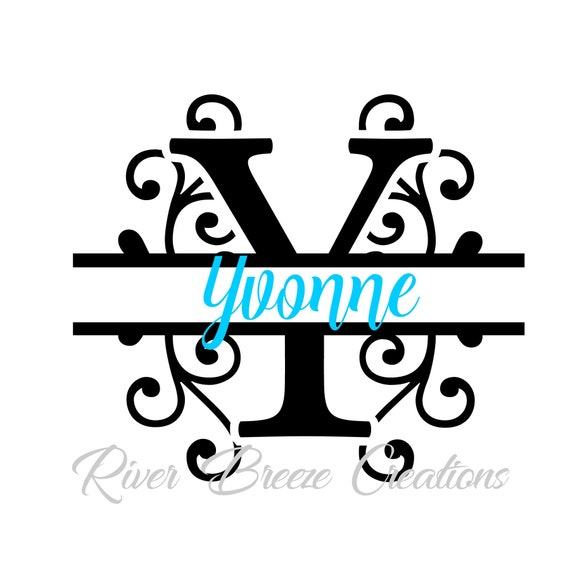Split Monogram Letter Y Svg Fancy Swirl Font Svg Cricut Svg Etsy