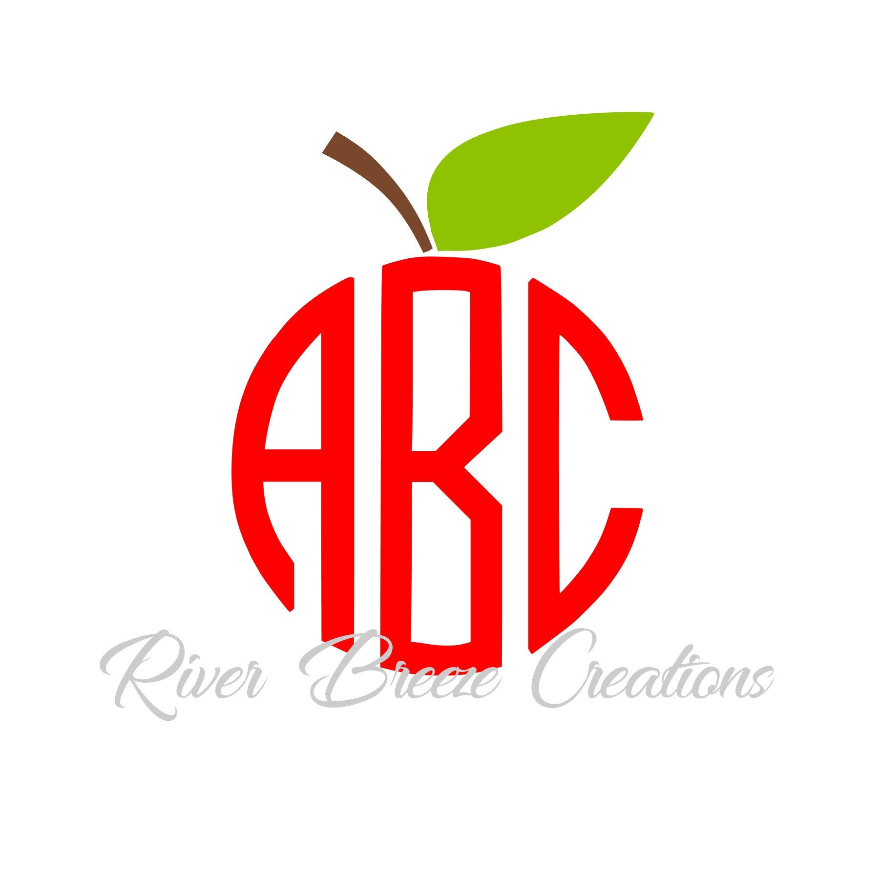 Circle Monogram Apple Svg Fruit Silhouette Svg Teacher S Etsy