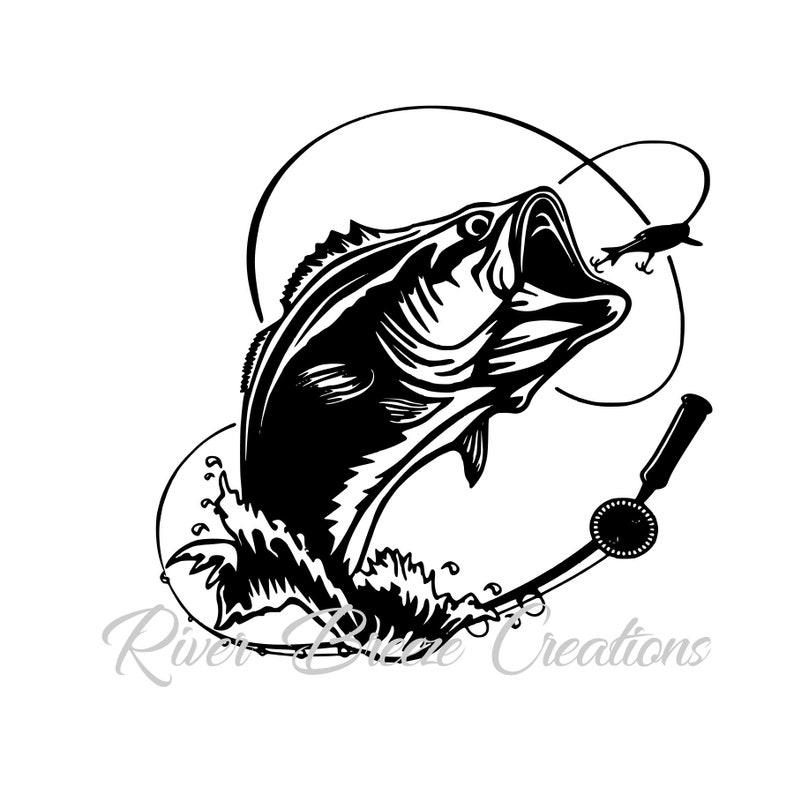 Bass Fisch Svg Silhouette Svg Cricut Svg Großen Mund Fisch Etsy