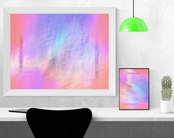 Abstract, Digital painting, Decoration, Printable, DOWNLOAD, Wall Art, Purple, Blue, Pink