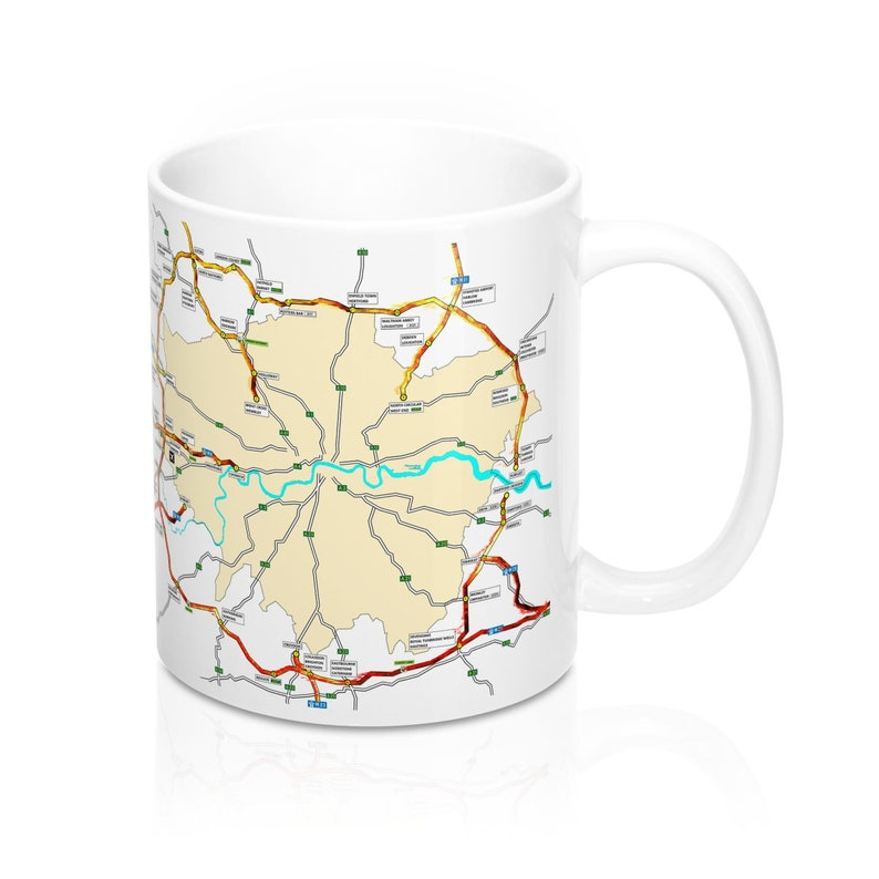 Flaming M25 Map - Coffee Mug 11oz - Fire - Sigil - Traffic Jam - Rune -  Symbol - Right Handed Mug - Morning Motivation - Gift