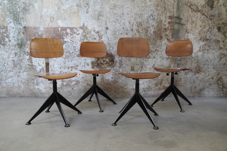 set 4 sedie industriali vintage by Velca