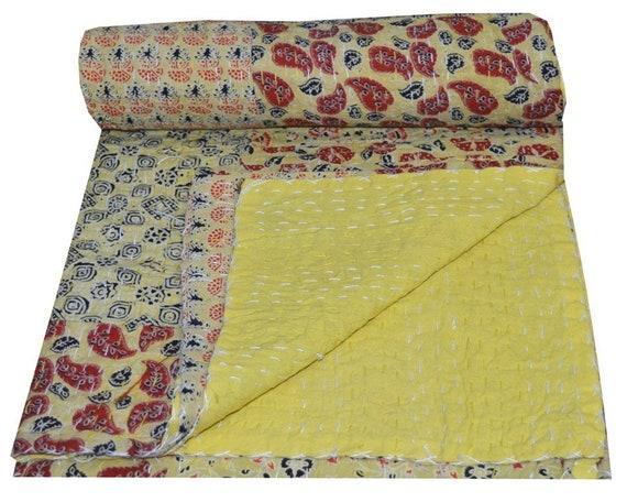 Handmade Patchwork Multi Print Kantha Quilt Twin Throw Quilt Indian Bedspread
