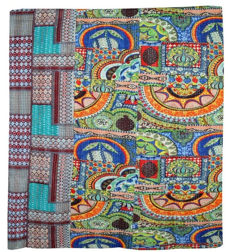 Indian Vintage Multi Kantha Quilt Twin Size Traditional Print Kantha Throw Gudari Blanket Bedspread Throw Gudari
