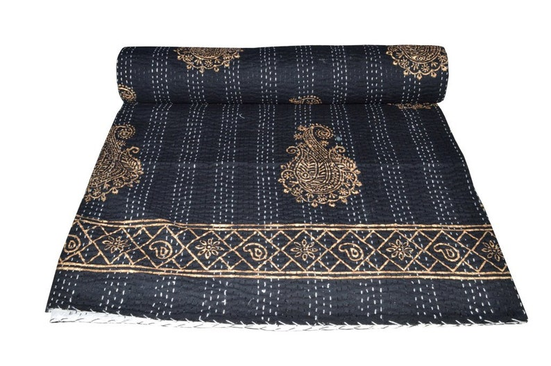 Indian Handmade Pure Cotton Hand Block Print Kantha Quilt Vintage Kantha Blanket Bedspread Throw Gudri Perfect Match for Bed King size