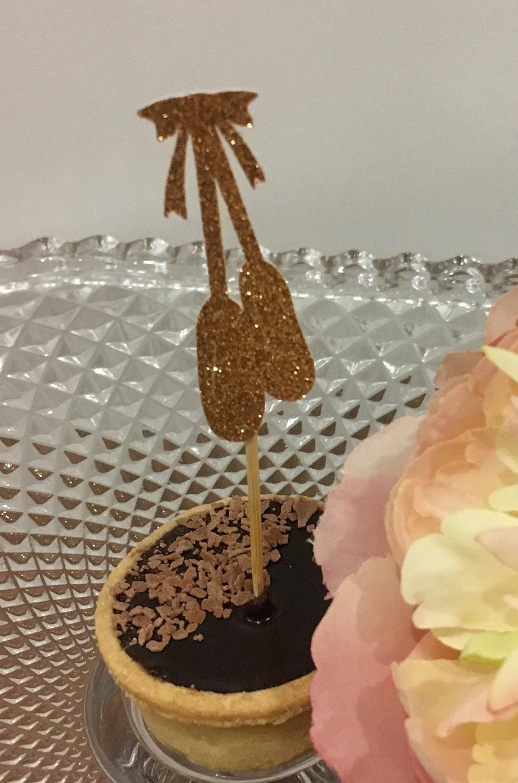 ballerina slippers cupcake toppers-glitter cupcake topper,ballet theme, dance recital,baby shower, ballerina birthday party,ball