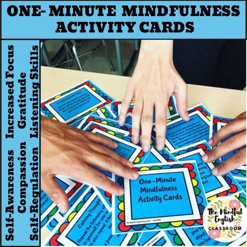 One-Minute Mindfulness Activity/Task Cards Printable Instant image 1