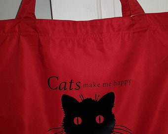 Cat Lovers Tote/Library/Grocery/Shopping Eco Reusable Bags with Cat Print