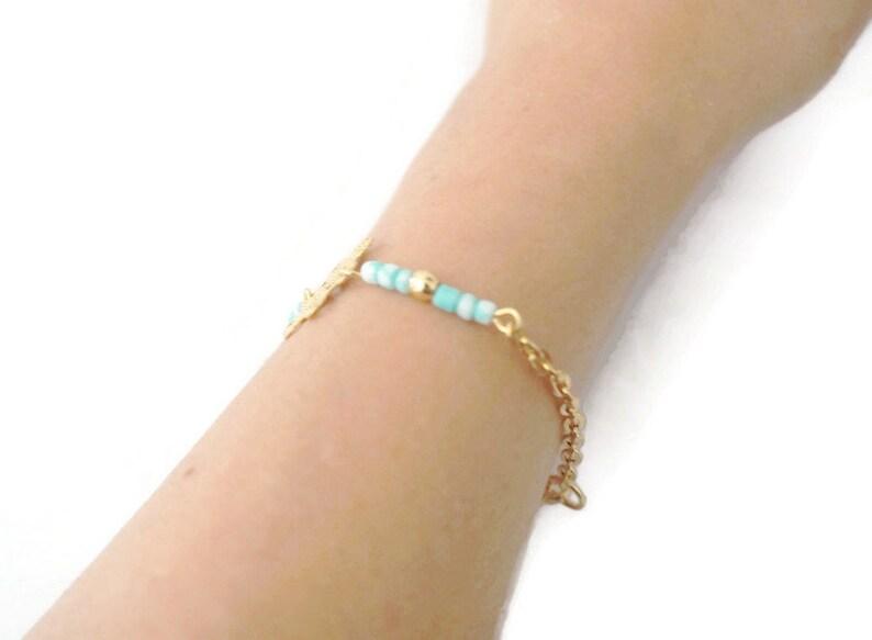 Gold minimalist bracelet filigree flower bracelet chain boho bracelet turquoise seed beads