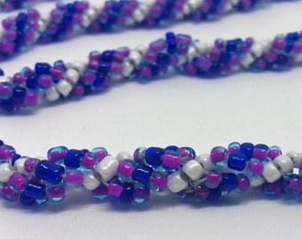 Handmade Ladies Purple, Navy Blue and White Spiral Rope Necklace Long