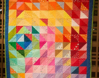 Abstract Diamond Pastel Baby Quilt