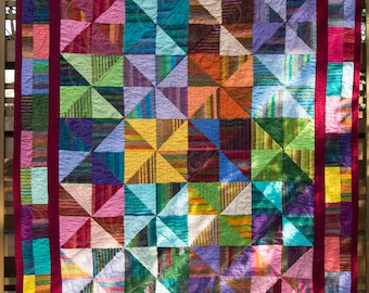 Stripes and Solids Pinwheel Quilt