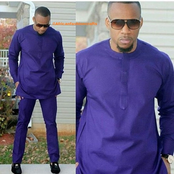 Bleu royal traditionnel Wax homme vêtements, vêtements africains, mode africaine, tenue africaine, vêtements pour hommes, usure africain, Dashiki costumes