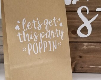 POPCORN STATION PARTY decor paper brown bags