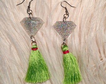Sparkly resin & neon green tassel earrings