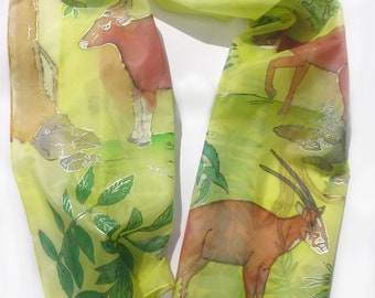 Hand painted endangered species Saola and Kouprey vietnamese forest silk scarf