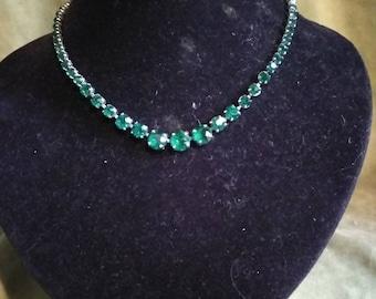 1950s Green Diamante Necklace