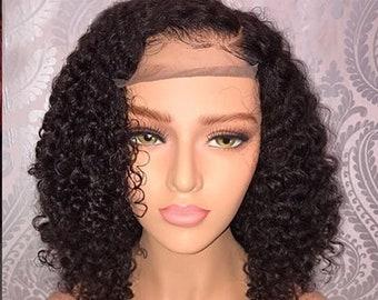 51c07d9de Lace front human hair wig | Baby Hair | Virgin Hair | Curly Wig| Wavy Hair  | Wet Hair| Short curly bob | pre plucked wig