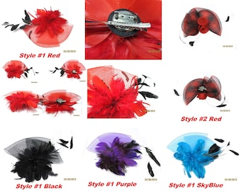 Real Feather Hair accessories, 5 styles, with attached clips, rounded top,  craft party, DIY, fascinator Hat, Headband Hair Bow Making