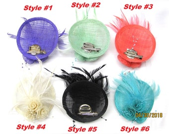 Real Feather Hair accessories, 6 styles, with attached clips, rounded top,  craft party, DIY, fascinator Hat, Headband Hair Bow Making