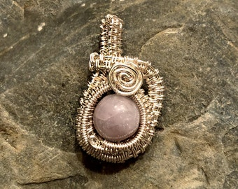 Amethyst and tarnish resistant silver wire wrapped necklace