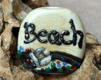 Lampwork bead, focal, glass bead, Beach, handmade