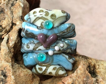Organic style lampwork bead with heart, glass bead focal, handmade bead, focal