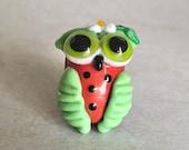 Shannon Altman lampwork beads, owl bead, watermelon owl, bird bead, dots, animal bead, lampwork owl focal