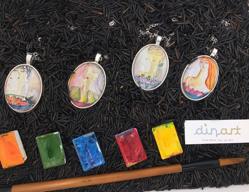 Pomegrant Necklace Painting wearable art Watercolor Painting Woman Passion Abstract