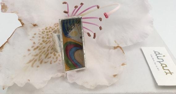 L'enthousiasme - réglable bague en argent - art portable aquarelle peinture - abstrait - femme - peinture