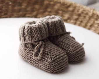 Hand knitted pure wool booties