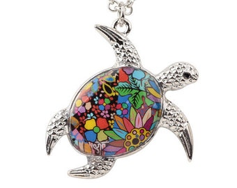 turtle necklace, travel necklace, ocean necklace, sea turtle necklace, sea turtle pendant, turtle pendant, turtle gift, animal necklace,
