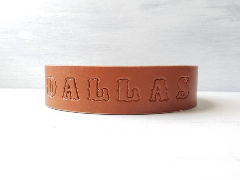 Made in U.S.A. Personalized Handmade Collars Wide Leather Dog Collar 1.5 Stamped Dog Collar