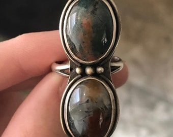 Red moss agate in sterling silver