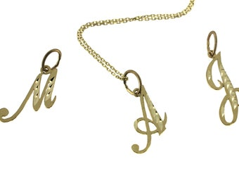 Solid 14K Yellow Gold Initial Letter  Charm Necklace