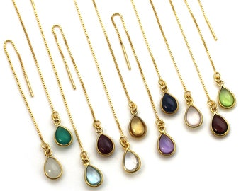 Gold over Sterling Silver Genuine Birthstone Earrings, Gold Threader Earrings,Natural Gemstone Bezel Earrings