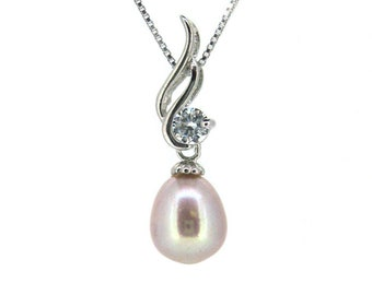 """Pink Pearl, Sterling Silver Pink Freshwater Pearl and CZ Stone Wave Pendant Necklace (16""""), Gift for Her, Bridesmaid Gift, Anniversary Gift"""