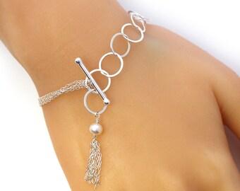 Multistrand Adjustable Bracelet, Sterling Silver Pearl Bracelet, Gift for Her, Unique Bracelet, June Birthstone Bracelet, Toggle Bracelet