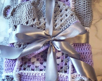 Beautiful multi square baby blanket with matching hat