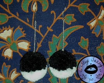 Black & White Mix Pom-Pom Drop Earrings