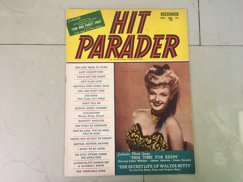 Hit Parader Magazine December 1947 - Vintage Lyric Music Magazine Featuring  Dale Evans