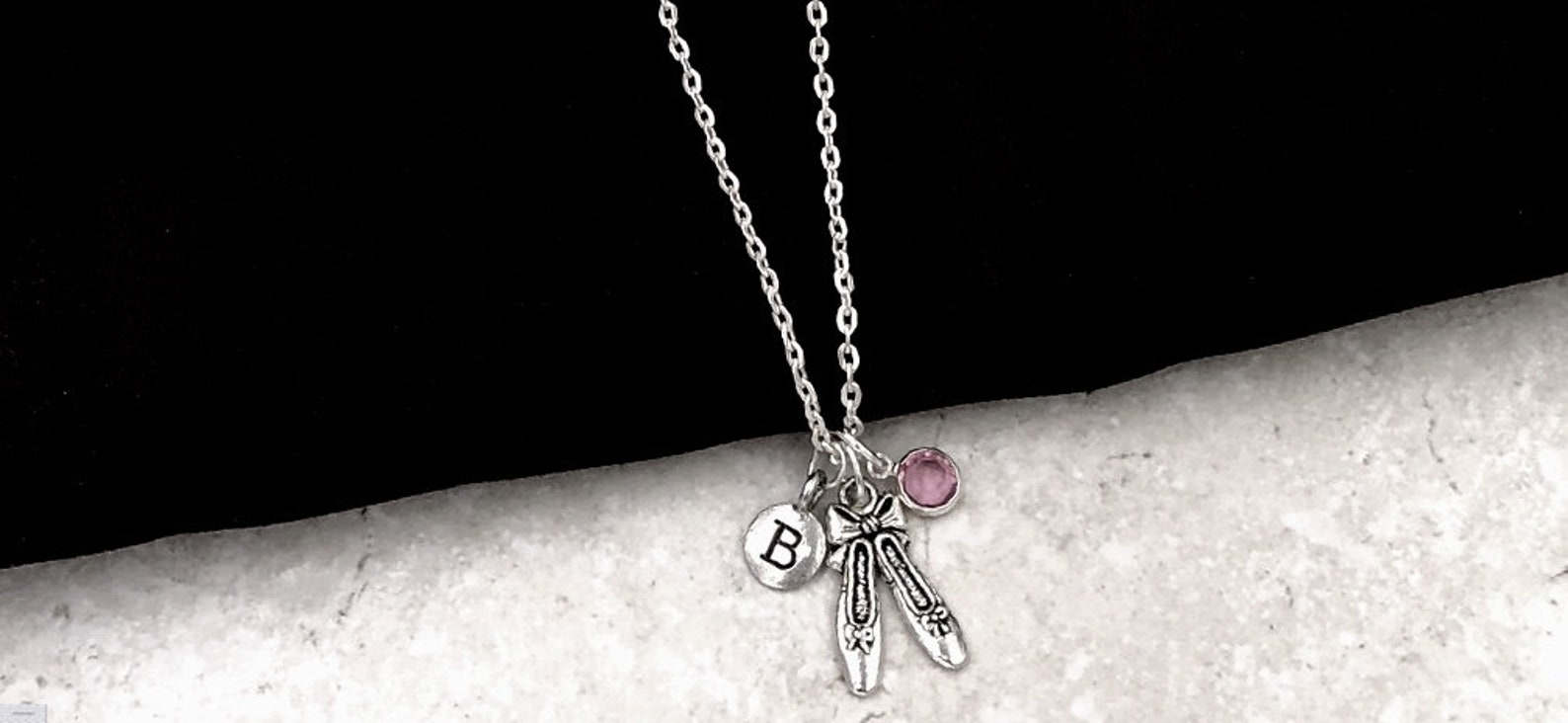 ballerina slipper necklace, dance ballet shoes jewelry, coach gift, women and girls dance team, personalized birthstone necklace