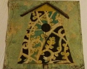 USA Seller ~ Two (2) Paper Napkins for Decoupage ~ FREE SHIP ~ Teal Birdhouse